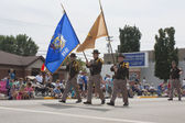 Sheriff's Marching with Flags Close Up — Stock fotografie