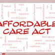 Affordable Care Act Word Cloud Concept on a Whiteboard — Stock Photo #24883559