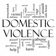 Domestic Violence Word Cloud Concept in Black and White - Stock Photo