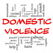 Domestic Violence Word Cloud Concept in Red Caps — Stock Photo