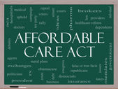 Affordable Care Act Word Cloud Concept on a Blackboard — Stock Photo