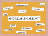 Concepto affordable care act corkboard palabra — Foto de Stock