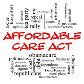 Affordable Care Act Word Cloud Concept in Red Caps — Stock Photo