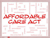 Affordable Care Act Word Cloud Concept on a Whiteboard — Stock Photo