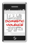Domestic Violence Word Cloud Concept on Touchscreen Phone — Stock Photo