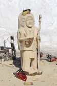 Native American Indian Chief Wood Carving in Process — Stock Photo