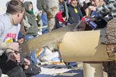 Lumberjack Two Man Bucksaw competition Close Up — Stock Photo