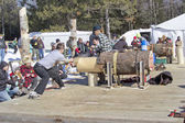 Lumberjack Two Man Bucksaw competition starting — Stock Photo
