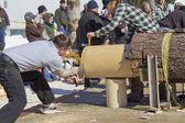 Lumberjack Two Man Bucksaw competition end cut — Stock Photo