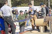 Lumberjack Two Man Bucksaw competition Finished — Stock Photo