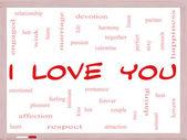我爱你在白板上的字云概念 — 图库照片