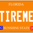 Retirement Florida License Plate — Stock Photo