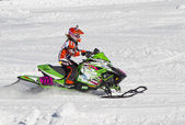 Neon Green Arctic Cat Snowmobile Racing — Stock Photo