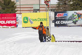 Waving Flag at Snowmobile Race finish line — Stock Photo