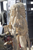Indian Chief Chainsaw Carving — Stock Photo