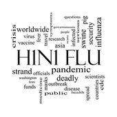 Concept de nuage mot h1n1 grippe en noir et blanc — Photo