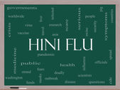 H1N1 Flu Word Cloud Concept on a Blackboard — Stock Photo