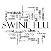 Swine Flu Word Cloud Concept in Black and White — Stock Photo