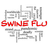 Swine Flu Word Cloud Concept in Red Caps — Stock Photo