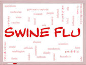 Swine Flu Word Cloud Concept on a Whiteboard — Stock Photo
