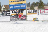 Polaris Red Snowmobile Soaring on Jump — Stock Photo