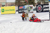 Tiny Polaris Red Snowmobile Starting to Race — Stock Photo