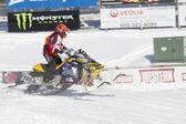 Ski-Doo Blue & Yellow Snowmobile Racing — Stock Photo