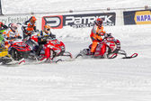 Start of the Snowmobile Race — Stock Photo