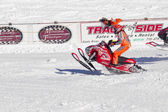 Polaris Red and white Snowmobile Racing — Stock Photo