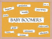 Baby Boomers Corkboard Word Concept — Stock Photo