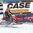 Stock Photo: Red and Black Polaris VForce Snowmobile Racing