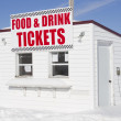 Food and Drink Concession and Ticket Stand at the Snowmobile Races — Foto de Stock