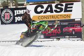 Green Arctic Cat Sno Pro Snowmobile Racing — Stock Photo