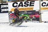 Green Arctic Cat Sno Pro Snowmobile Racing Fast — Stock Photo