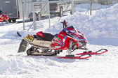 Red and Black Polaris Snowmobile After the Race — Stock Photo