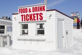 Food and Drink Concession and Ticket Stand at the Snowmobile Races — Stock Photo