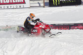 Red and Black Polaris Snowmobile during race — Stock Photo