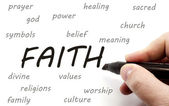 Hand writing FAITH and related words — Stockfoto