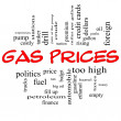 Gas Prices Word Cloud Concept in Red Caps — Stock Photo #26906347