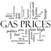 Gas Prices Word Cloud Concept in Black and White — Stock Photo