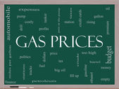 Gas Prices Word Cloud Concept on a Blackboard — Stock Photo