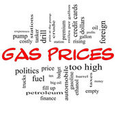 Gas Prices Word Cloud Concept in Red Caps — Stock Photo