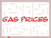 Gas Prices Word Cloud Concept on a Whiteboard — Stock Photo