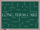 Long Term Care Word Cloud Concept on a Blackboard — Stock Photo