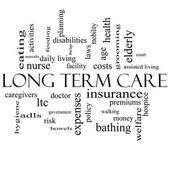 Long Term Care Word Cloud Concept in black and white — Stock Photo