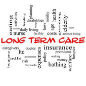 Long Term Care Word Cloud Concept in Red Caps — Stock Photo