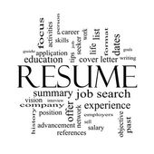 Resume Word Cloud Concept in Black and White — Stock Photo