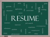 Resume Word Cloud Concept on a Blackboard — Stock Photo