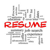 Resume Word Cloud Concept in Red Caps — Stok fotoğraf