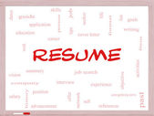 Resume Word Cloud Concept on a Whiteboard — Stock Photo